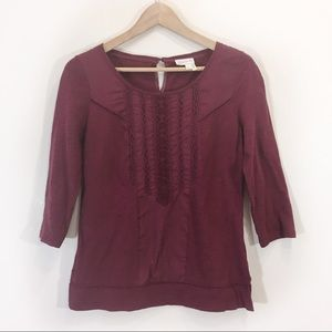 Anthropologie Burgundy Lace Blouse Small